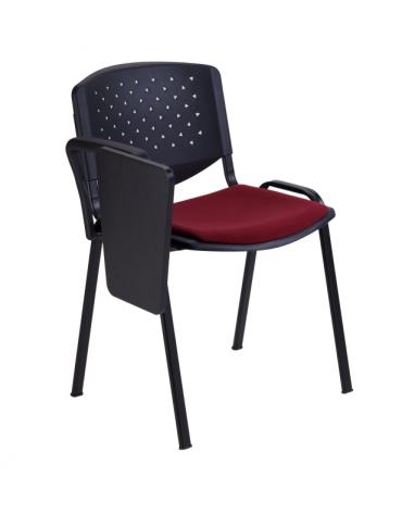 Sedia da attesa con bracciolo  scrittoio - Struttura in acciaio - schienale forato - sedile con imbottitura - cm 68x59x77h