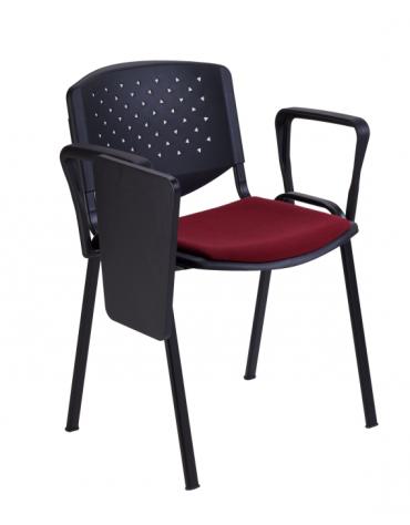 Sedia da attesa con braccioli e scrittoio - Struttura in acciaio - schienale forato - sedile con imbottitura - cm 54x59x77h