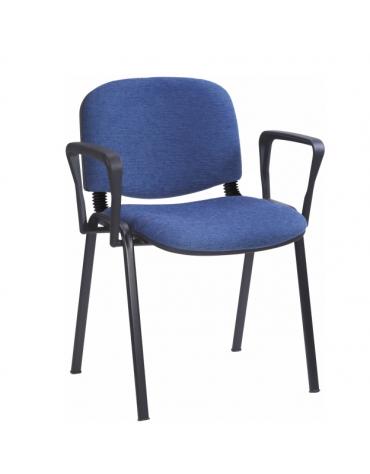 Sedia fissa attesaconferenza telaio in acciaio a sezione ovale con braccioli cm 64x61x80h