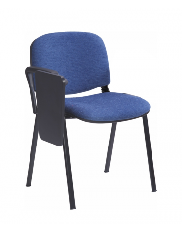 Sedia fissa attesaconferenza telaio in acciaio a sezione ovale con bracciolo e scrittoio cm 68x64x80h