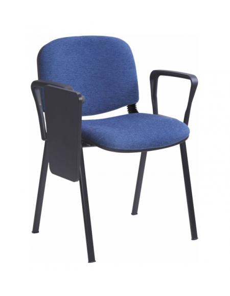 Sedia fissa attesa conferenza telaio in acciaio a sezione ovale con  braccioli e scrittoio cm 68x64x80h