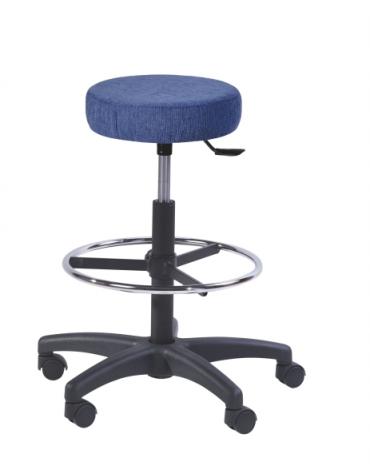 Sgabello con seduta tonda alzata a gas - anello poggiapiedi cm 57x60x61/86h