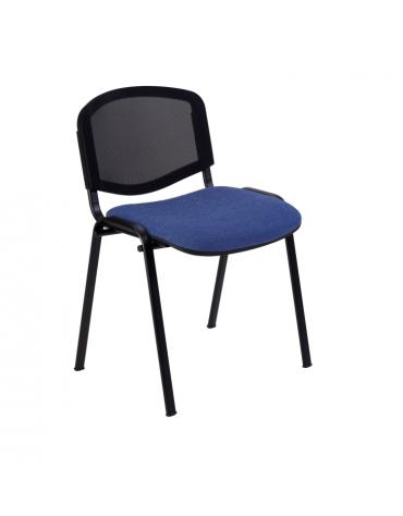 Sedia fissa di attesaconferenza con telaio nero - schienale a rete cm 54x61x80h