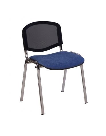 Sedia fissa di attesaconferenza con telaio cromato - schienale a rete cm 54x61x80h