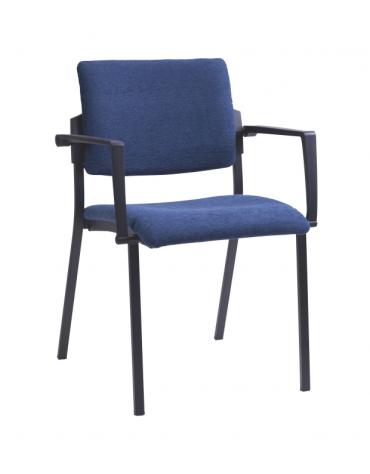 Sedia fissa di attesaconferenza con braccioli - telaio in acciaio verniciato nero o grigio cm 58x52x81h