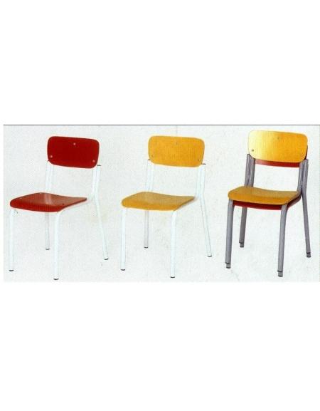 Sedia sovrapponibile sedile e spalliera faggio colorato traspare