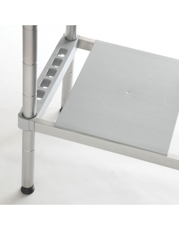 Scaffale in acciaio inox con ripiani in polietilene cm 90x30x200h