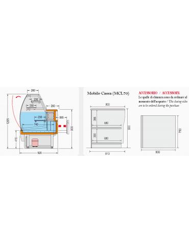 Vetrina pasticceria statica Dimensioni: larghezza mm.1000, profondità mm.920, altezza mm.1268.