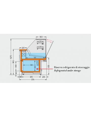 Vetrina fredda vetri alti dritti Dimensioni: larghezza mm.1980, profondità mm.974, altezza mm.1270.