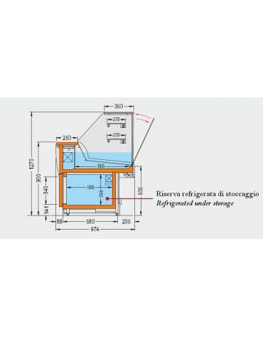 Vetrina fredda vetri alti dritti Dimensioni: larghezza mm.2480, profondità mm.974, altezza mm.1270