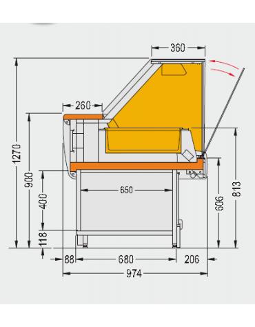 Vetrina calda bagnomaria Dimensioni: larghezza mm.1300, profondità mm.974, altezza mm.1270.