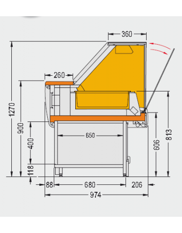 Vetrina calda bagnomaria Dimensioni: larghezza mm.1510, profondità mm.974, altezza mm.1270.