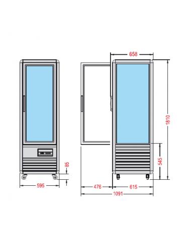 Vetrina espositiva verticale refrigerata con ripiani rotanti in vetro temeratura combinata mm 595x658x1810h