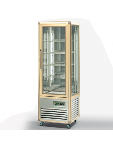 Vetrina espositiva verticale refrigerata con ripiani a griglie - temperatura combinata mm 595x658x1810h