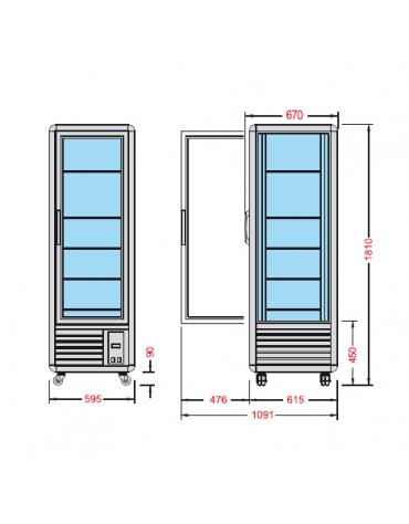 Vetrina espositiva verticale refrigerata con ripiani a griglie mm 595x658x1810h