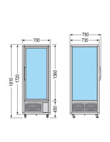 Vetrina espositiva verticale refrigerata con ripiani a griglie mm 700x770x1810h
