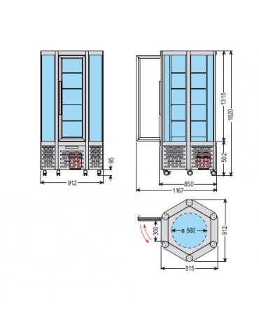 Vetrina espositiva verticale refrigerata con ripiani rotanti in vetro mm 912x815x1820h