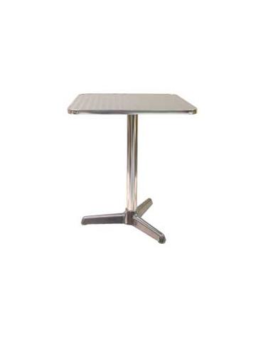 Tavolo quadrato cm. 60x60 bar alluminio palo centrale