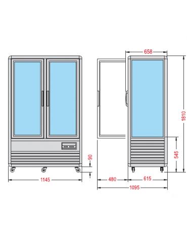 Vetrina espositiva verticale refrigerata con ripiani rotanti in vetro mm 1150x660x1810h