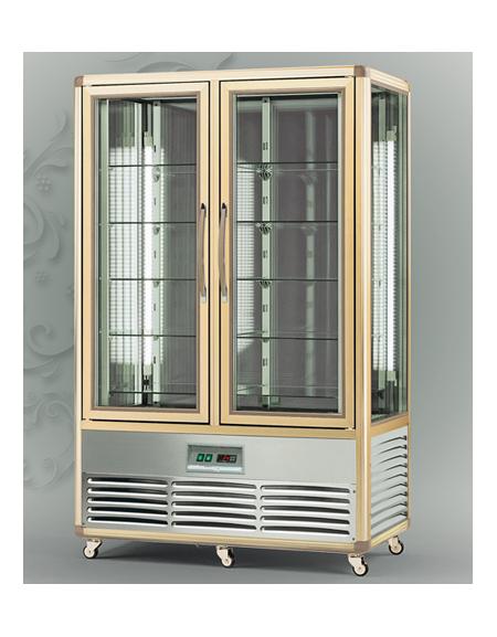 Vetrina espositiva verticale refrigerata con ripiani in for Vetrine in cristallo arredamento