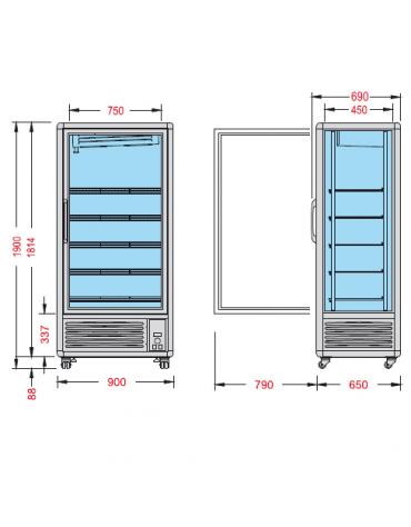 Vetrina espositiva verticale refrigerata con ripiani a griglie temperatura  mm 900x690x1900h