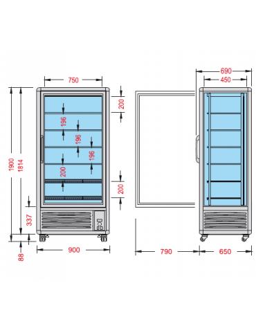 Vetrina espositiva verticale refrigerata con ripiani a griglie mm 900x690x1900h