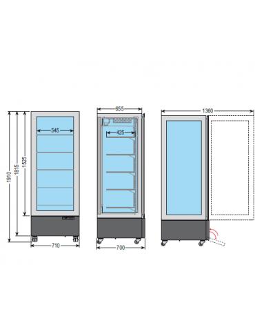 Vetrina espositiva verticale refrigerata con struttura a vetro portante e ripiani in cristallo mm 710x700x1910h