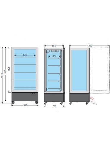 Vetrina espositiva verticale refrigerata con struttura a vetro portante e ripiani in cristallo mm 910x700x1910h