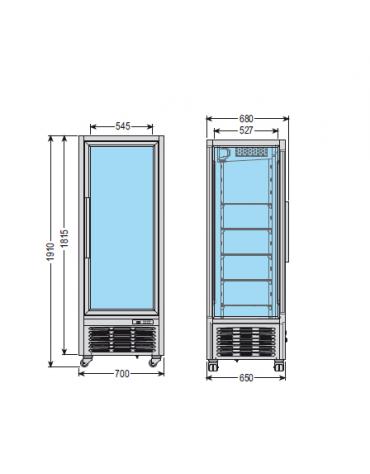 Vetrina espositiva verticale refrigerata con ripiani a griglie mm 700x680x1910h