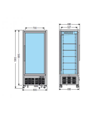 Vetrina espositiva verticale refrigerata con ripiani a griglie. Adatta per gelateria mm 800x680x1910h