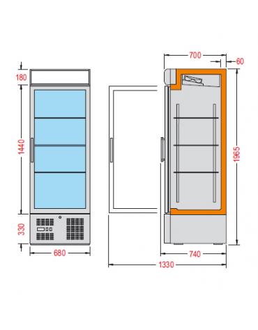 Vetrina espositiva verticale refrigerata con ripiani a griglie mm 680x725x1940h