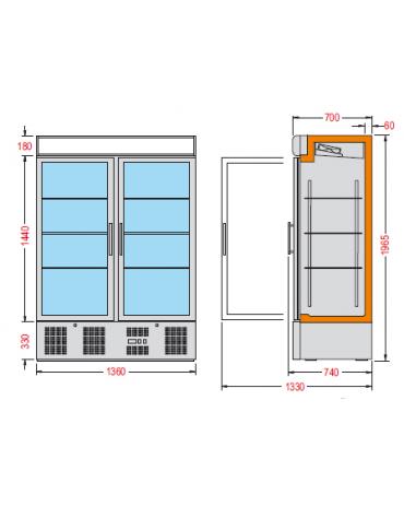 Vetrina espositiva verticale refrigerata con ripiani a griglie mm 1370x700x2000h