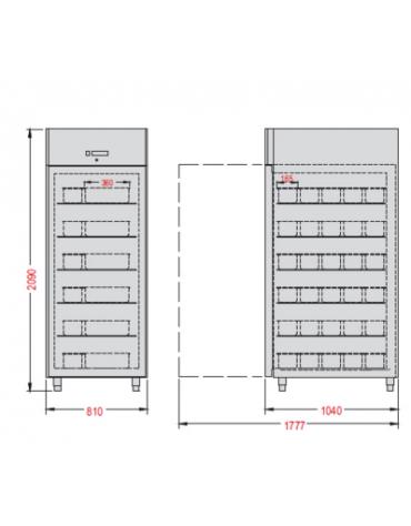 Armadio refrigerato GN2/1 ventilato con interni ed esterni in acciaio inox, 810x1040x2090h