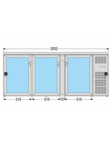 Frigo orizzontale ad ante battenti con vetro, realizzato esternamente in acciaio verniciato antracite, mm 2002x535x860h