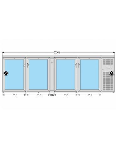 Frigo orizzontale ad ante battenti con vetro, realizzato esternamente in acciaio verniciato antracite, mm 2542x535x860h