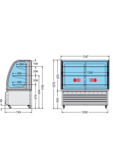 Vetrina espositiva orizzontale refrigerata temperatura +3° +10° C, mm 1347x749x1370h