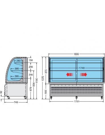 Vetrina espositiva orizzontale refrigerata temperatura +3° +10° C, mm 1806x749x1370h