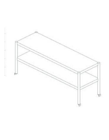 Sovrastruttura inox a 2 piani per appoggio su tavoli cm 200x30x60h