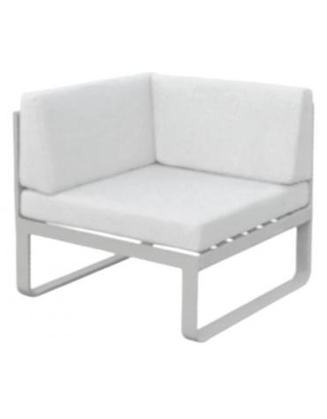 Poltroncina angolare - Struttura in alluminio verniciato, cuscini in tessuto cm 78x78x70h