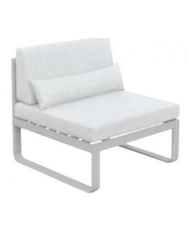 Poltroncina senza braccioli - Struttura in alluminio verniciato, cuscini in tessuto, cm 70x78x76h