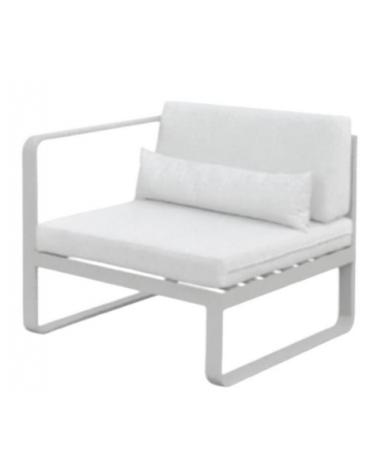 Struttura in alluminio verniciato, cuscini in tessuto, cm 82x78x70h