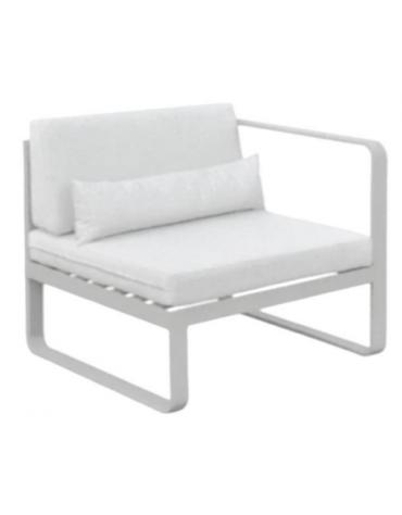 Struttura in alluminio verniciato, cuscini in tessuto cm 70x82x78h