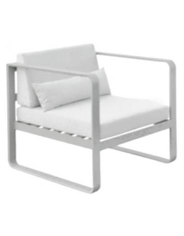 Poltroncina con 2 braccioli - Struttura in alluminio verniciato, cuscini in tessuto, cm 78x78x70h