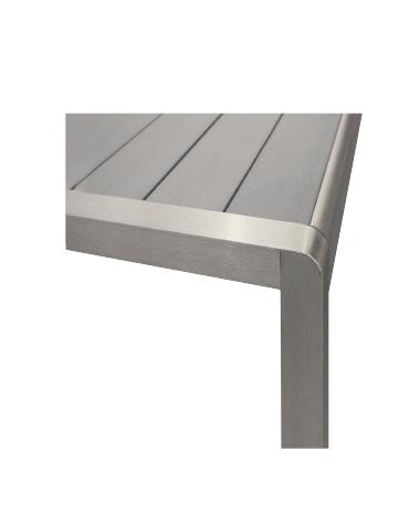 Tavolo - Struttura in alluminio satinato, piano in materiale composito (L180 x P90 x H76 cm)