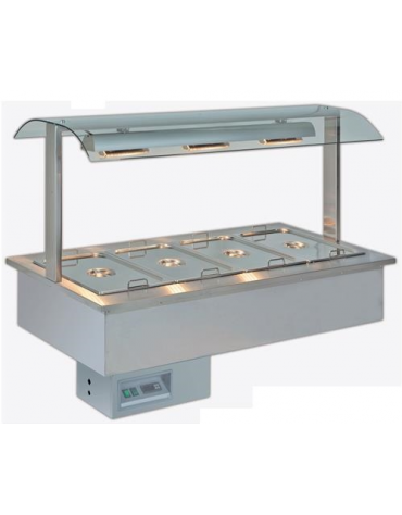 Vasca espositiva da incasso riscaldata Bagnomaria con vaschette GN per gastronomia mm 1122x750x1004h