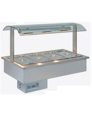 Vasca espositiva da incasso riscaldata Bagnomaria con vaschette GN per gastronomia mm 1422x750x1004h