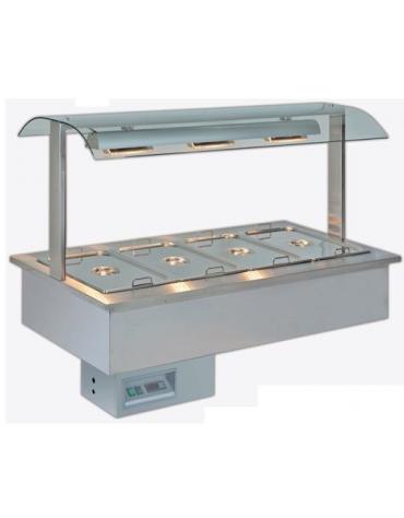 Vasca espositiva da incasso riscaldata con piastre in vetroceramica per gastronomia mm 1422x750x1004h