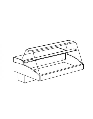 Vetrina refrigerata da appoggio - vetro diritto - Mensola intermedia in cristallo - mm 1256x790x810h