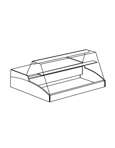 Vetrina refrigerata da appoggio - vetro diritto - Porte scorrevoli di chiusura in plexiglass - mm 1506x939x530h