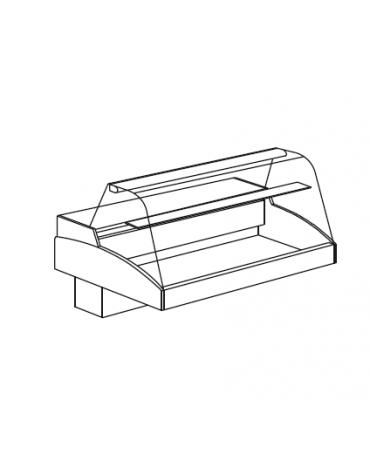 Vetrina refrigerata da appoggio - vetro curvo - Mensola intermedia in cristallo - mm 1256x790x810h